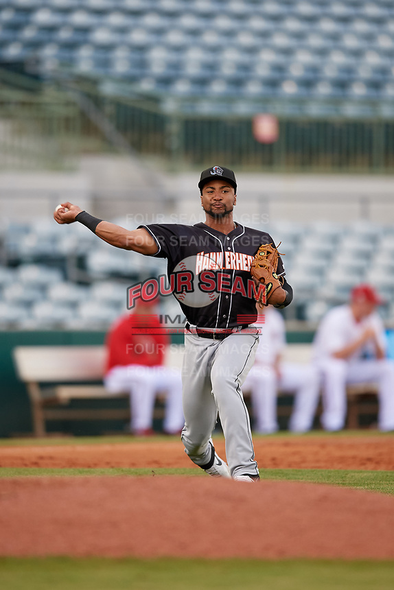 Jupiter Hammerheads James Nelson (20) throws to first base during a Florida State League game against the Florida Fire Frogs on April 8, 2019 at Osceola County Stadium in Kissimmee, Florida.  Florida defeated Jupiter 7-6 in ten innings.  (Mike Janes/Four Seam Images)