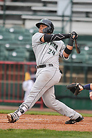 Dayton Dragons catcher Hendrik Clementina (24) swings at pitch against the Burlington Bees at Community Field on May 2, 2018 in Burlington, Iowa.  (Dennis Hubbard/Four Seam Images)