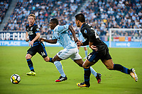 Kansas City, KS - Wednesday August 9, 2017: Jackson Yueill, Jimmy Medranda, Nick Lima during a Lamar Hunt U.S. Open Cup Semifinal match between Sporting Kansas City and the San Jose Earthquakes at Children's Mercy Park.