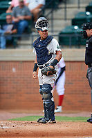 Pulaski Yankees catcher Carlos Narvaez (48) in front of home plate umpire Colin Baron during a game against the Greeneville Reds on July 27, 2018 at Pioneer Park in Tusculum, Tennessee.  Greeneville defeated Pulaski 3-2.  (Mike Janes/Four Seam Images)