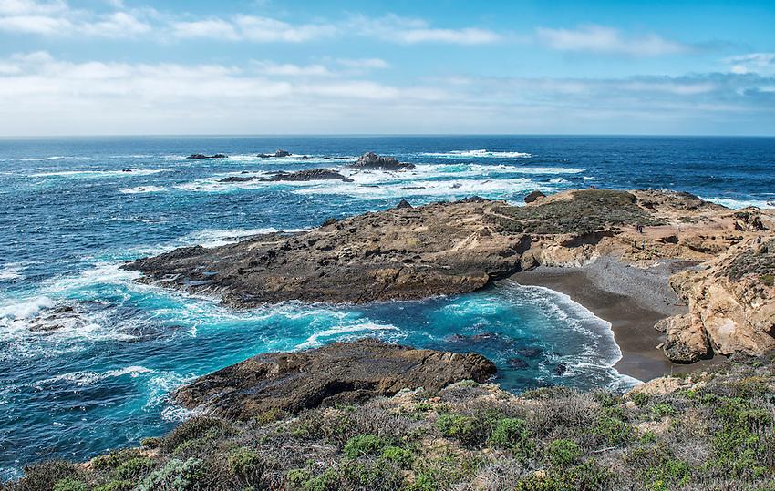 Beach and coastline at Point Lobos, on the California coast adjacent to Carmel.