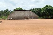 Xingu Indigenous Park, Mato Grosso State, Brazil. Aldeia Afukuri (Kuikuro). Typical oca house.