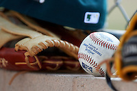 Official minor league baseball sits on the dugout wall during an instructional league game between the Oakland Athletics and Arizona Diamondbacks at the Papago Park Baseball Complex on October 11, 2012 in Phoenix, Arizona. (Mike Janes/Four Seam Images)