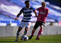 5th April 2021; Madejski Stadium, Reading, Berkshire, England; English Football League Championship Football, Reading versus Derby County;  Nathan Byrne of Derby County beaten by the turn from Laurent of Reading