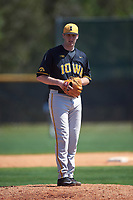 Iowa Hawkeyes relief pitcher Nick Allgeyer (24) gets ready to deliver a pitch during a game against the Dartmouth Big Green on February 27, 2016 at South Charlotte Regional Park in Punta Gorda, Florida.  Iowa defeated Dartmouth 4-1.  (Mike Janes/Four Seam Images)