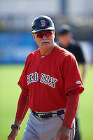 GCL Red Sox coach Dave Tomlin (20) during the first game of a doubleheader against the GCL Rays on August 4, 2015 at Charlotte Sports Park in Port Charlotte, Florida.  GCL Red Sox defeated the GCL Rays 10-2.  (Mike Janes/Four Seam Images)