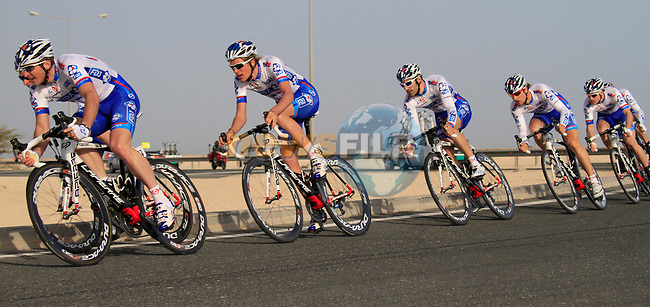 FDJ-BigMat team in action during the 2nd Stage of the 2012 Tour of Qatar an 11.3km team time trial at Lusail Circuit, Doha, Qatar. 6th February 2012.<br /> (Photo Eoin Clarke/Newsfile)