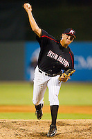Relief pitcher Chase Cooney #39 of the Kannapolis Intimidators in action against the Lakewood BlueClaws at Fieldcrest Cannon Stadium July 14, 2010, in Kannapolis, North Carolina.  Photo by Brian Westerholt / Four Seam Images