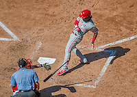 24 May 2015: Philadelphia Phillies outfielder Odubel Herrera is brushed back by a Gio Gonzalez pitch in the 7th inning against the Washington Nationals at Nationals Park in Washington, DC. The Nationals defeated the Phillies 4-1 to take the rubber game of their 3-game weekend series. Mandatory Credit: Ed Wolfstein Photo *** RAW (NEF) Image File Available ***