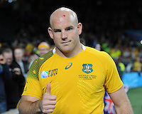 Stephen Moore of Australia during Match 35 of the Rugby World Cup 2015 between Australia and Wales - 10/10/2015 - Twickenham Stadium, London<br /> Mandatory Credit: Rob Munro/Stewart Communications