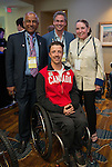 Calgary, AB - June 5 2014 - Josh Dueck with Hussein Farah from CIBC and Mark Rubinstein from Alpine Canada during the Celebration of Excellence Paralympic Ring Reception in Calgary. (Photo: Matthew Murnaghan/Canadian Paralympic Committee)