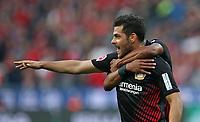 24.09.2017, Football 1. Bundesliga 2017/2018, 6. Match Day, Bayer 04 Leverkusen - Hamburger SV, in der BayArena Leverkusen. Jubel   Kevin Volland (Bayer Leverkusen) und Wendell (Bayer Leverkusen) celebrates scoring to 1:0 *** Local Caption *** © pixathlon +++ tel. +49 - (040) - 22 63 02 60 - mail: info@pixathlon.de<br /> <br /> +++ NED + SUI out !!! +++