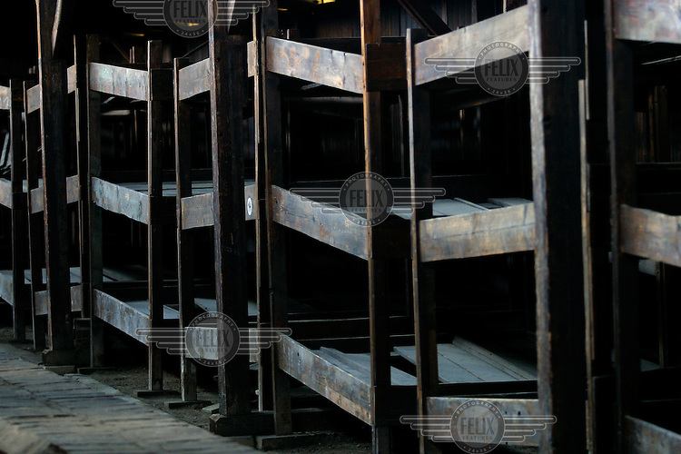 Bunks at the Auschwitz Nazi concentration camp, where the prisoners used to sleep. It is estimated that between 1.1 and 1.5 million Jews, Poles, gypsies and others were killed here in the Holocaust between 1940-1945.
