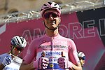 Race leader Maglia Rosa Joao Almeida (POR) Deceuninck-Quick Step at sign on before the start of Stage 7 of the 103rd edition of the Giro d'Italia 2020 running 143km from Matera to Brindisi, Sicily, Italy. 9th October 2020.  <br /> Picture: LaPresse/Fabio Ferrari | Cyclefile<br /> <br /> All photos usage must carry mandatory copyright credit (© Cyclefile | LaPresse/Fabio Ferrari)
