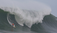 Jaimie Sterling surfs a wave at the 2008 Mavericks Surf Contest in Half Moon Bay, Calif., Saturday, January 12, 2008.