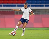 YOKOHAMA, JAPAN - JULY 30: Lynn Williams #21 of the USWNT dribbles during a game between Netherlands and USWNT at International Stadium Yokohama on July 30, 2021 in Yokohama, Japan.