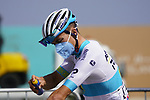 Kazakh Champion Alexey Lutsenko (KAZ) Astana-Premier Tech applies sunblock at sign on before the start of Stage 6 of the 2021 UAE Tour running 165km from Deira Island to Palm Jumeirah, Dubai, UAE. 26th February 2021.  <br /> Picture: Eoin Clarke   Cyclefile<br /> <br /> All photos usage must carry mandatory copyright credit (© Cyclefile   Eoin Clarke)