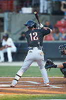 Ryan McKenna (12) of the Frederick Keys at bat during the 2018 Carolina League All-Star Classic at Five County Stadium on June 19, 2018 in Zebulon, North Carolina. The South All-Stars defeated the North All-Stars 7-6.  (Brian Westerholt/Four Seam Images)