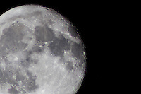 Waning gibbous moon, one day after the full harvest moon in September 2016.