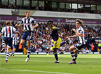 Sunday 01 September 2013<br /> Pictured: Wilfried Bony of Swansea (2nd L) misses the opportunity to score from a team mates corner kick, he is marked by Gareth McAuley (L) and Billy Jones (R).<br /> Re: Barclay's Premier League, West Bromwich Albion v Swansea City FC at The Hawthorns, Birmingham, UK.
