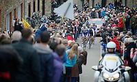 Liège-Bastogne-Liège 2013..Sander Armee (BEL) leading the escape group up the furious Côte de Saint-Roche (max 20%).