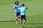 Getafe CF's Marc Cucurella (l) and Angel Rodriguez celebrate during training session. September 23, 2020.(ALTERPHOTOS/Acero)
