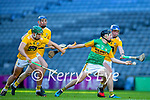 Shane Conway, Kerry in action against Stephen Rooney, and Keelan Molloy, Antrim  during the Joe McDonagh Cup Final match between Kerry and Antrim at Croke Park in Dublin. Photo by Daire Brennan/Sportsfil