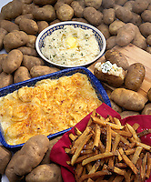 Potatoes - baked, mashed, french fries, scalloped and whole.