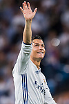 Cristiano Ronaldo of Real Madrid celebrates winning after their 2016-17 UEFA Champions League Quarter-finals second leg match between Real Madrid and FC Bayern Munich at the Estadio Santiago Bernabeu on 18 April 2017 in Madrid, Spain. Photo by Diego Gonzalez Souto / Power Sport Images