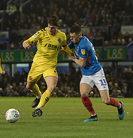 Fleetwood Town's Ched Evans (left) battles with Portsmouth's James Bolton (right) <br /> <br /> Photographer David Horton/CameraSport<br /> <br /> The EFL Sky Bet League One - Portsmouth v Fleetwood Town - Tuesday 10th March 2020 - Fratton Park - Portsmouth<br /> <br /> World Copyright © 2020 CameraSport. All rights reserved. 43 Linden Ave. Countesthorpe. Leicester. England. LE8 5PG - Tel: +44 (0) 116 277 4147 - admin@camerasport.com - www.camerasport.com