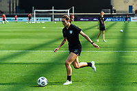 BRIDGEVIEW, IL - JULY 18: Tatumn Milazzo #23 of the Chicago Red Stars warms up before a game between OL Reign and Chicago Red Stars at SeatGeek Stadium on July 18, 2021 in Bridgeview, Illinois.