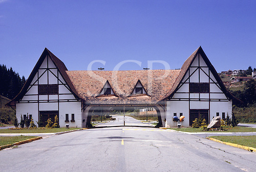 Campos do Jordao, Brazil. The Alpine styled town entrance gate; 'Little Switzerland', Sao Paulo State.