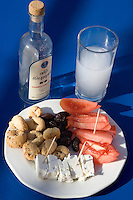Greece. Aegean Islands. Lesvos. An Ouzo and Meze in Plomari Village.