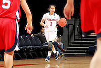 CHARLOTTESVILLE, VA- December 7: China Crosby #1 of the Virginia Cavaliers handles the ball during the game against the Virginia Cavaliers on December 7, 2011 at the John Paul Jones arena in Charlottesville, Va. Virginia defeated Liberty 64-38. (Photo by Andrew Shurtleff/Getty Images) *** Local Caption *** China Crosby