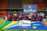 MEDELLIN - COLOMBIA,8-10-2020:Formación del Medellín.Independiente Medellín y Cúcuta Deportivo  en partido por la fecha 12 de la Liga BetPlay DIMAYOR I 2020 jugado en el estadio Atanaso Girardot de la ciudad de Medellín. / Team of Medellin.Independiente Medellin and Cucuta Deportivo in match for the date 12 BetPlay DIMAYOR League I 2020 played at Atanasio Girardot  stadium in Medellin city. Photos: VizzorImage / Donaldo Zuluaga / Contrbuidor