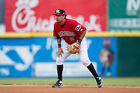 Hickory Crawdads second baseman Edwin Garcia (9) on defense against the West Virginia Power at L.P. Frans Stadium on August 15, 2015 in Hickory, North Carolina.  The Power defeated the Crawdads 9-0.  (Brian Westerholt/Four Seam Images)