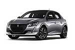 Stock pictures of low aggressive front three quarter view of 2020 Peugeot e-208 GT 5 Door Hatchback Low Aggressive