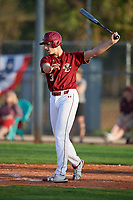 Boston College Eagles pinch hitter Joe Suozzi (30) takes a warmup swing during a game against the Minnesota Golden Gophers on February 23, 2018 at North Charlotte Regional Park in Port Charlotte, Florida.  Minnesota defeated Boston College 14-1.  (Mike Janes/Four Seam Images)
