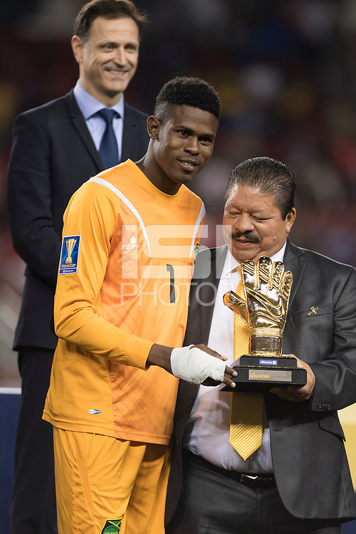 Santa Clara, CA - Wednesday July 26, 2017: Andre Blake during the 2017 Gold Cup Final Championship match between the men's national teams of the United States (USA) and Jamaica (JAM) at Levi's Stadium.