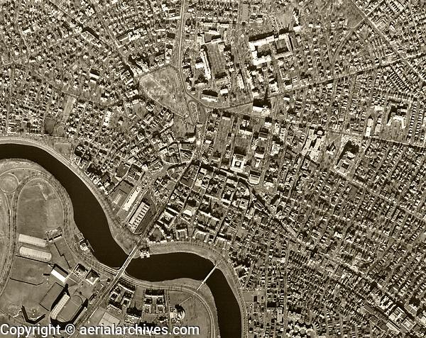 historical aerial photograph Charles River, Harvard University,  Cambridge, Massachusetts, 1955