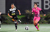 Aalst's Daisy Baudewijns pictured with Julie Challe (12 Charleroi) during a female soccer game between Sporting Charleroi and Eendracht Aalst on the 8th  matchday of the 2020 - 2021 season of Belgian Scooore Womens Super League , friday 20 th of November 2020  in Marcinelle , Belgium . PHOTO SPORTPIX.BE | SPP | DAVID CATRY