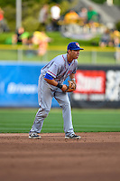 Doug Bernier (7) of the Round Rock Express on defense against the Salt Lake Bees in Pacific Coast League action at Smith's Ballpark on August 15, 2016 in Salt Lake City, Utah. Round Rock defeated Salt Lake 5-4.  (Stephen Smith/Four Seam Images)