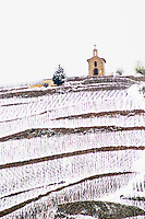 The La Chapelle chapel on top of the hill and Ermitage vineyard. The Hermitage vineyards on the hill behind the city Tain-l'Hermitage, on the steep sloping hill, stone terraced. Sometimes spelled Ermitage. Vineyards under snow in seasonably exceptional weather in April 2005. Tain l'Hermitage, Drome, Drôme, France, Europe