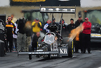 Oct. 2, 2011; Mohnton, PA, USA: NHRA top fuel dragster driver Larry Dixon during the Auto Plus Nationals at Maple Grove Raceway. Mandatory Credit: Mark J. Rebilas-