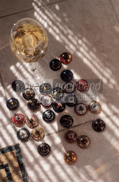 """Europe/France/Champagne-Ardenne/51/Marne/Reims: Dégustation à l'aveugle de champagne millésimes à l'hôtel-restaurant """"Les Crayères"""" - Verre de champagne et plaque"""