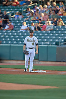 Jared Walsh (18) of the Salt Lake Bees before the game against the Sacramento River Cats at Smith's Ballpark on July 18, 2019 in Salt Lake City, Utah. The Bees defeated the River Cats 9-6. (Stephen Smith/Four Seam Images)