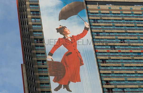 AVAILABLE FROM JEFF AS A FINE ART PRINT.<br /> <br /> AVAILABLE FROM JEFF FOR EDITORIAL LICENSING ONLY INSIDE A PUBLICATION......NOT AVAILABLE FOR COMMERCIAL/ADVERTISING LICENSING BECAUSE THE IMAGE IS NOT MODEL OR PROPERTY RELEASED.<br /> <br /> Billboard for Mary Poppins Broadway Show in Times Square, Midtown Manhattan, New York City, New York State, USA
