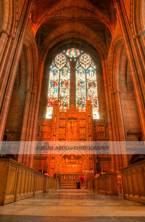 High dynamic range (HDR) imaging shows off the intricate architecture of the  of an interior section of the Roman Catholic Metropolitan Cathedral of Liverpool in England's 5th most populous city.  One of the tallest cathedrals in the world, it rises up to 100 meters high.  It is a popular and beautiful destination for tourists to the city.