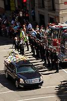 Montreal quebec CANADA - july 19, 2012 - Official funeral for deceased Montreal fireman Thierry Godfrind.<br /> <br /> Les funerailles officielles du pompier Thierry Godfrind  vendredi matin à la basilique Notre-Dame à Montreal.<br /> <br /> Photo (c) 2012 by Images Distribution