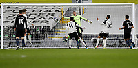 13th March 2021, Craven Cottage, London, England;  Fulhams goalkeeper Alphonse Areola is beaten by the shot as Manchester Citys John Stones scores for 0-1 during the English Premier League match between Fulham and Manchester City at Craven Cottage in London